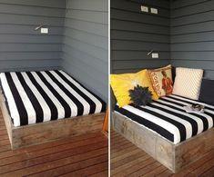 Cómo hacer una cama para tu jardín Spool Tables, Outdoor Furniture, Outdoor Decor, Toddler Bed, Backyard, Wood, Whisky, Home Decor, Handmade