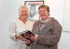 Garter Lane Arts Centre Vice Chair Dee Jacques with Cathy Desmond admiring the new exhibtion www.noelbrownephotographer.com — with Dee Jacques at Garter Lane Arts Centre.