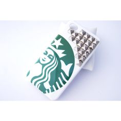 Silver Studded Starbucks Inspired Hard Iphone 4 4s with Studs Cell... ($13) ❤ liked on Polyvore featuring accessories, tech accessories, phone cases, phone, iphone cases, iphone, iphone stud case, silver iphone case, iphone case and iphone cover case