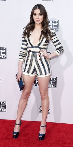 AMAs 2015: HAILEE STEINFELD The actress-singer wore a striped romper with Brian Atwood heels.