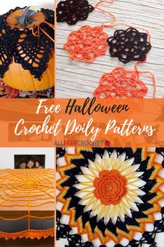 Free Halloween crochet doily patterns will elevate your October decor to a new level. Free Crochet Doily Patterns, Halloween Crochet Patterns, All Free Crochet, Crochet Squares, Cute Crochet, Crochet Crafts, Crochet Doilies, Crochet Ideas, Halloween Crafts