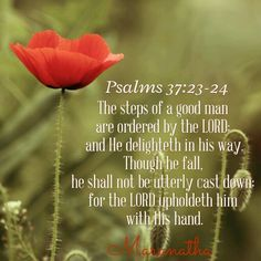 Psalms 37:23-26 (KJV) The steps of a good man are ordered by the LORD: and he delighteth in his way. Though he fall, he shall not be utterly cast down: for the LORD upholdeth him with his hand. I have been young, and now am old; yet have I not seen the righteous forsaken, nor his seed begging bread. He is ever merciful, and lendeth; and his seed is blessed. MARANATHA
