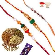 Assorted Trio Crystal Beads Rakhi with Dry Fruit Bowl