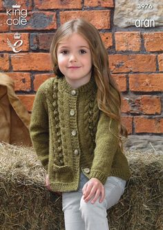 Baby Knitting Patterns Jumper Cardigan and Waistcoat in King Cole Big Value Aran Kids Knitting Patterns, Sweater Knitting Patterns, Knitting For Kids, Crochet Patterns, Knit Cardigan Pattern, Crochet Jacket, Cable Cardigan, Girls Sweaters, King Cole