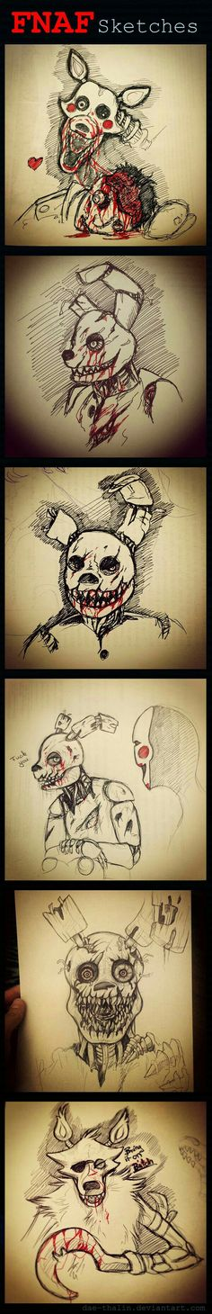 FNAF Sketches, text, cool, Mangle, Springtrap, Puppet, the Marionette, Foxy; Five Nights at Freddy's