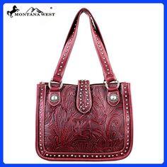 MW175-8575 Montana West Tooling Collection Handbag-Red
