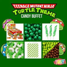 Serves: 30 Guests  Candy Buffet Bundle Includes:  2 x e.Frutti Gummy Pizza 48 ct 1 x Fruit Sours Apple 5 lb 1 x Tiny Twist Pops Green & White 48 ct 1 x Gummy Rings Apple 4.5 lb 1 x Sixlets Mini Chocolate Balls Lime Green 2 lb 1 x Sixlets Mini Chocolate Balls Brown 2 lb 50 x Candy Buffet Paper Bags  Lime Green (Style varies) 2 x Scoops Clear 2 x Tongs Clear