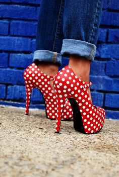 Red and White Polka dot heels.   Pinned on behalf of Pink Pad, the women's health mobile app with the built-in community