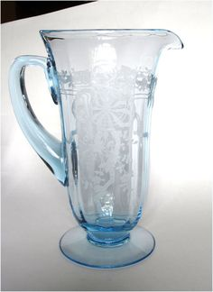 Fostoria Glass Azure Blue June Etch Water Pitcher