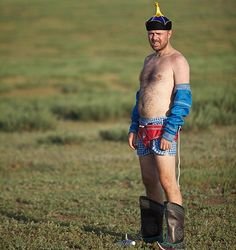 Karl is ready for Mongolian wrestling, but only with his boxers firmly in place (An Idiot Abroad; Karl Pilkington)