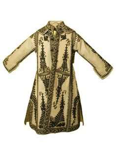 Albanian black embroidered wool coat
