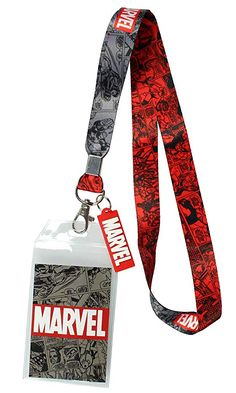 Marvel Lanyard ID Badge Holder, Rubber Charm Pendant with Raised Script and 2 Sided Vintage Comic Strip Pattern - Best Seller List Lanyard Wallet, Lanyard Keychain, Lanyard Id Holder, Keychains, Identity Card Design, Ci Design, Lanyard Designs, Duck Tape Crafts, Wallet Tutorial