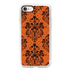 Vintage elegant orange halloween damask - iPhone 7 Case, iPhone 7 Plus... (1,860 DOP) ❤ liked on Polyvore featuring accessories, tech accessories, iphone case, iphone cases, vintage iphone case, apple iphone case and iphone cover case