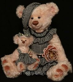 Pauline and Lizzie.   (Mother and daughter) by FASHION TEDDY BEARS