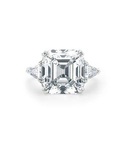 Asscher-Cut Diamond Engagement Rings | Martha Stewart Weddings - Asscher-cut engagement ring with trillions on platinum setting, Forevermark Exceptional Diamond with Trillions set in Platinum 10.5 carat total weight, price upon request, Forevermark.com.