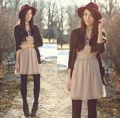 Great outfit. Love the tights!  I will have to do this with my beige dress!
