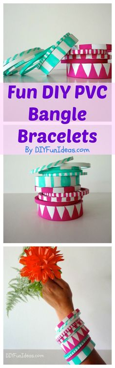 DIY BANGLE BRACELETS Made From PVC. Sooo easy to make you can make sets to coordinate with all your outfits! Check out more fun ideas @ DIYFUNIDEAS.COM