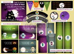 """Temática Halloween para Jardín de Infantes """"Los Duendecitos"""" - Diseño de invitación para padres, banderines, faja para bolsa de golosinas/cereales, envoltorios para golosinas, círculos multiuso, wrappers y etiquetas para botellas."""