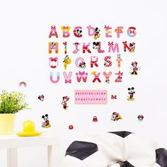 """""""Minnie Mickey Mouse Alphabet English Letters Wall Stickers Nursery Wall Art Diy Kids Room Bedroom Home Decoration Animal Decals"""" Wall Stickers Alphabet, Kids Room Wall Stickers, Alphabet Wall, Vinyl Wall Decals, Sticker Vinyl, Vinyl Art, Mickey Mouse, Mural Art, Wall Art"""