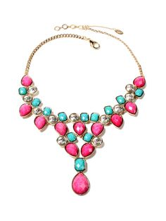 Fuschia & Turquoise Crystal Dune Bib Necklace by Amrita Singh at Gilt