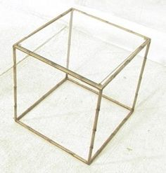 Faux Bamboo Gilt Metal Glass Top Cube Side Table. : Lot 372