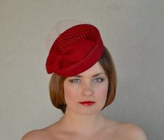 Red Felt Fascinator with veil by RubinaMillinery  #fascinator #pillbox #rubinamillinery