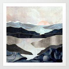 Blue Mountain Lake Art Print by SpaceFrogDesigns - X-Small Lake Art, Canvas Prints, Art Prints, Blue Mountain, Metal Art, Watercolor Art, Modern Art, Contemporary, Graphic Art