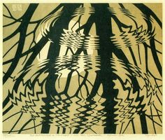 Rippled Surface March 1950  Linoleum cut in black and grey-brown, printed from two blocks  In the water's surface we see bare tree branches, with the sun behind them. The waves distort the image, making us aware that we are looking at a reflection in water. Escher was inspired to make this print during a walk in the woods with his son George. When he saw the reflection in the water he looked at the pond with his face between his legs as if the reflected world were the real world. This…
