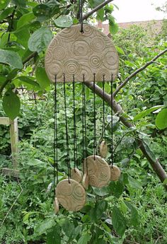 Celtic Summer Unique Ceramic Wind Chimes. by FenlandCeramics