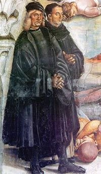 Luca Signorellli, self portrait (on the left) with Fra Angelico Posthumous portrait of Fra Angelico by Luca Signorelli, detail from Deeds of the Antichrist fresco (c.1501) in Orvieto Cathedral