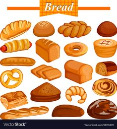 Illustration about Illustration of set of yummy assorted Bread and Bakery Food item. Illustration of menu, grain, crust - 90985241 Flashcards For Kids, Food Clipart, Cute Food Art, Food Wallpaper, Bread Baking, Bread Food, Food Drawing, Food Illustrations, Food Items