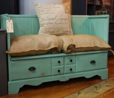 Turn a dresser into a bench, recycle burlap bags and use as pillows
