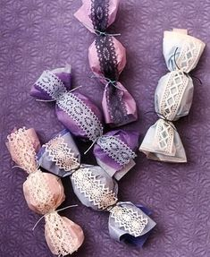 """See the """"Lacy Favor Packaging"""" in our Purple Bridal Shower Ideas for a Feminine Affair gallery Candy Wedding Favors, Candy Favors, Cookie Favors, Diy Wedding, Wedding Gifts, Wedding Ideas, Wedding Themes, Party Wedding, Diy Cadeau"""