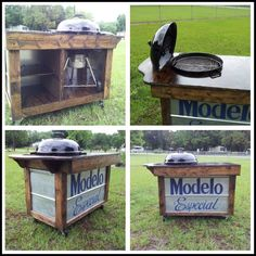 A handcrafted Webber grill table with a modelo especial beer logo on front handcrafted by follow me in instagram @happymendez .