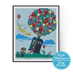 Exploding Tardis Police Box, Up House Cross Stitch Pattern, Doctor Who Disney Pixar Counted Cross Stitch, Modern Decor, PDF Instant Download by DigiPoint on Etsy