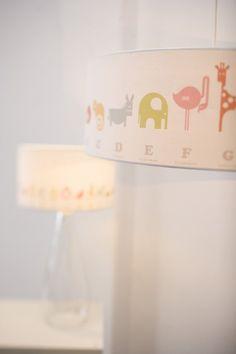 Alphabet pendant lampshade. #kids #nursery #alphabet #animal #lampshade #playroom