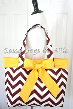 Florida State University Handbag-Maroon and White Chevron with Gold Bow-Seminoles Canvas Tote