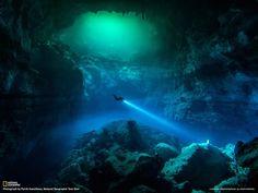 A diver explores a cenote in Tulum, Mexico: http://on.natgeo.com/1zNfwhj