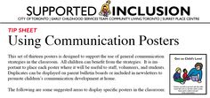 Using Communication Posters to support the use of general communication strategies in the Classroom  (from City of Toronto Early Childhood Service Team).