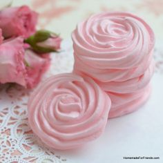 Raspberry Rose Meringues - Delicate yet crispy, these meringues add the perfect texture to the sweet and fragrant flavor of raspberries.