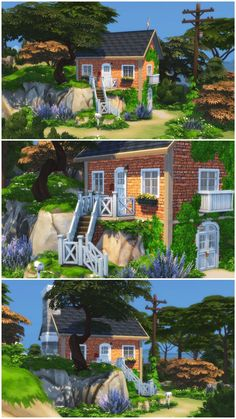 Lotes The Sims 4, Sims Four, Sims 4 House Plans, Sims 4 House Building, Muebles Sims 4 Cc, Sims 4 House Design, Casas The Sims 4, House By The Sea, Sims 4 Build