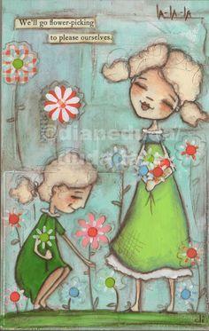 "Original Folk Art Mothers DAy Spring Painting ""Flower Picking"" ©dianeduda/dudadaze"