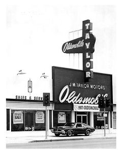 Jim & Chester's Garage — Your friendly Olds dealer… 1971 Vintage Racing, Vintage Ads, Vintage Photos, Oldsmobile Cutlass, Hurst Oldsmobile, Used Car Lots, New Car Smell, Retro Cars, Gas Station