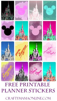 For all you Disneyphiles out there, celebrate your love of The Mouse with these cute stickers! Features Cinderella& castle, Mickey heads, and Mickey and Minnie& autographs. Disney Printables, Printable Planner Stickers, Mambi Stickers, Printable Tags, Free Printables, Cute Planner, Happy Planner, Planner Ideas, Disneyland Paris