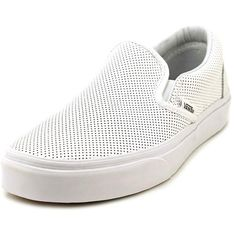 Vans Classic Slip-On Mens Sneakers (£25) ❤ liked on Polyvore featuring shoes, sneakers, white, slip on trainers, grip trainer, white trainers, white shoes and slip-on shoes