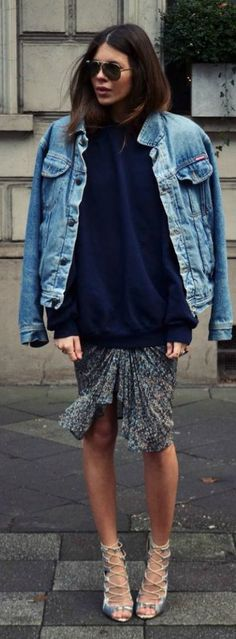 Oversized Denim Jacket Outfit Idea by LadyAddict