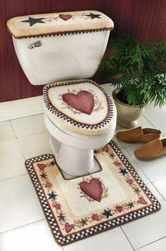Country Star Bathroom Bath Mat And Toilet Cover - decor primitive decor country style curtains country crafts americana … - Primitive Country Bathrooms, Country Primitive, Diy Rustic Decor, Prim Decor, Country Crafts, Country Decor, Country Style Curtains, Primitive Crafts, Home Decor