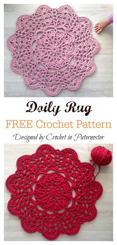 T-Shirt Yarn Doily Rug Free Crochet Pattern Crochet Doily Rug, Free Crochet Doily Patterns, Crochet Carpet, Crochet Yarn, Knitting Patterns, Crochet Coaster, Thread Crochet, Rag Rug Tutorial, Filets