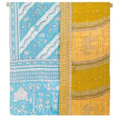 Kantha Quilted Recycled Sari Throw - Ancient Turquoise