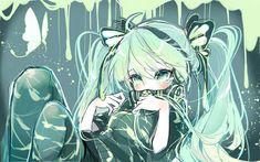 Télécharger fonds d'écran Hatsune Miku, l'art, les mangas, les papillons, les Vocaloid